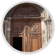 Old Church Door Cathedral Autun Round Beach Towel