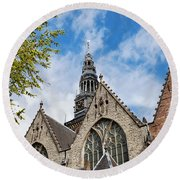 Old Church In Amsterdam Round Beach Towel