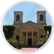 Old Church - Macon - Burgundy Round Beach Towel