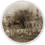 Old Church's Cemetery Graveyard Boston Massachusetts Circa 1900 Round Beach Towel