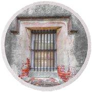 The Old City Jail Window Chs Round Beach Towel
