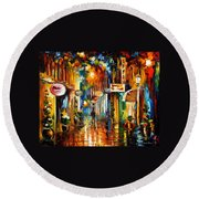 Old City Street - Palette Knife Oil Painting On Canvas By Leonid Afremov Round Beach Towel