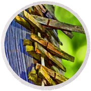 Old Clothes Pins II - Digital Paint Round Beach Towel