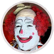 Old Clown Backstage Round Beach Towel