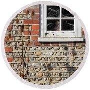 Old Cottage Window Sussex Uk Round Beach Towel