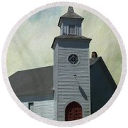 Old Country Church Round Beach Towel
