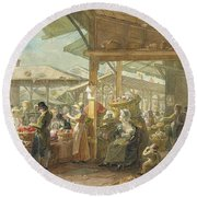 Old Covent Garden Market Round Beach Towel by George the Elder Scharf