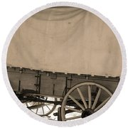 Old Covered Wagon Out West Round Beach Towel by Dan Sproul