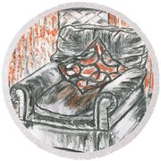 Old Cozy Chair Round Beach Towel