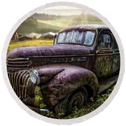 Old Dairy Farm Truck Round Beach Towel