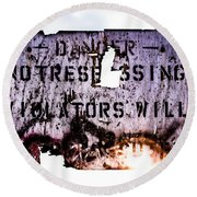 Old Danger Round Beach Towel by Bob Orsillo