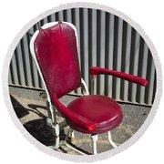 Old Dentist Chair Round Beach Towel
