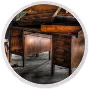 Old Desk In The Attic Round Beach Towel