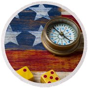 Old Dice And Compass Round Beach Towel