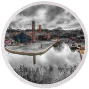 Old Dock Round Beach Towel by Adrian Evans