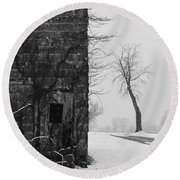 Old Door And Tree Round Beach Towel by William Jobes