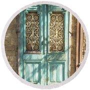 Old Door In Jersusalem Israel Round Beach Towel