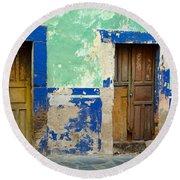 Old Doors, Mexico Round Beach Towel