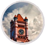 Old Dupage County Courthouse Clouds Round Beach Towel