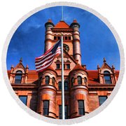 Old Dupage County Courthouse Flag Round Beach Towel