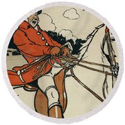 Old English Sports And Games Hunting Round Beach Towel