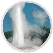 Old Faithful In Upper Geyser Basin Inyellowstone National Park Round Beach Towel
