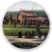 Old Faithful Inn Yellowstone Np 1928 Round Beach Towel