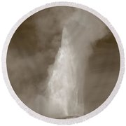Old Faithful - Yellowstone Park In Sepia Round Beach Towel