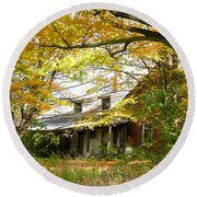 Old Farm House Behind Color Round Beach Towel