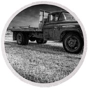 Old Farm Truck Black And White Round Beach Towel