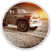 Old Farm Truck With Explosion At Night Round Beach Towel