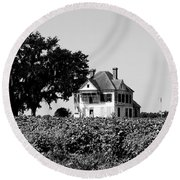 Old Farmhouse Surrounded By Cotton Round Beach Towel