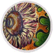 Old Fashion Flower 2 Round Beach Towel