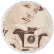 Old Fashion Male Freelance Photographer Round Beach Towel