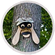 Old Fashion Security Camera Round Beach Towel
