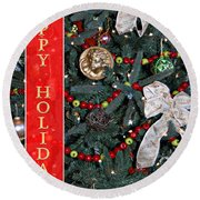 Old Fashioned Christmas Round Beach Towel by Carolyn Marshall