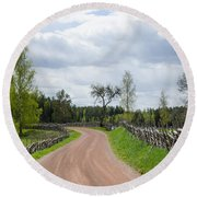 Old Fashioned Gravel Road Round Beach Towel
