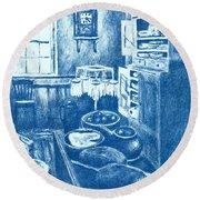 Old Fashioned Kitchen In Blue Round Beach Towel