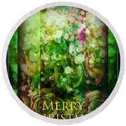 Old Fashioned Merry Christmas - Roses And Babys Breath - Holiday And Christmas Card Round Beach Towel