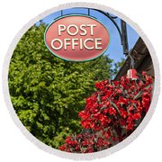 Old Fashioned Post Office Sign Round Beach Towel