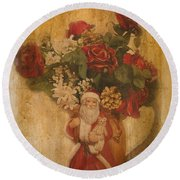 Old Fashioned St Nick Round Beach Towel