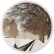 Old Fashioned Winter Round Beach Towel