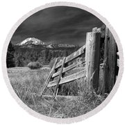 Old Fence At Mount Lassen Round Beach Towel