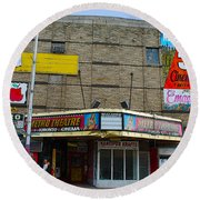 Old Film Theatre In Decay Round Beach Towel