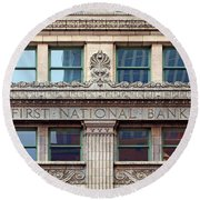 Old First National Bank - Building - Omaha Round Beach Towel