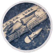 Old Fishing Lures Round Beach Towel