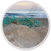 Old Fishing Net On Beach Round Beach Towel