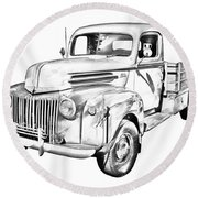 Old Flat Bed Ford Work Truck Illustration Round Beach Towel