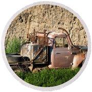 Old Flatbed International Truck Round Beach Towel