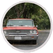 Old Ford Galaxy In The Rain Round Beach Towel
